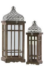 UTC40816 Wood Square Lantern with Silver Pierced Quatrefoil Design Metal Top, Ring Handle, and Window Pane Design Body Set of Two Natural Wood Finish Brown