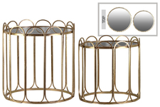 UTC40859 Metal Round Nesting End Table with Mirror Top, Stadium Shaped Sides and Round Bottom Set of Two Metallic Finish Gold