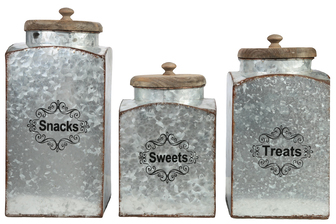 UTC40881 Metal Square Canister with Top Wood Lid, Rustic Edges and Snacks, Treats and Sweets Writing Design Set of Three Galvanized Finish Gray