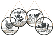 UTC40883-AST Metal Round Wall Art with Farmhouse Theme Design (Chicken, Cow and Pig) and Top Rope Handle Assortment of Four Tarnished Finish Black