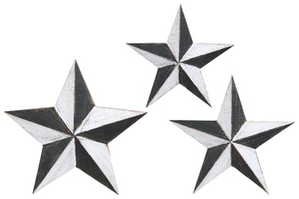 UTC40886 Metal Star Wall Decor with Metal Back Hanger Set of Three Painted Finish Gray