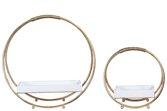 UTC40892 Metal Round Candle Holder on Stand with White Wood Surface and Top Covered Iron Rope Handle Set of Two Metallic Finish Gold