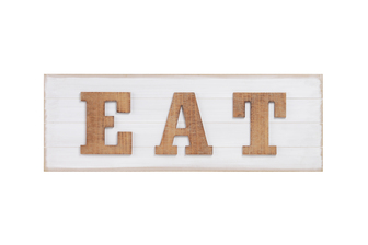 "UTC40897 Wood Rectangle Wall Decor with Brown Embossed ""EAT"" Writing and Metal Sawtooth Back Hangers Painted Finish White"