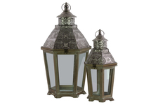 UTC41000 Wood Hexagonal Lantern with Gold Starburst Design Pierced Top Set of Two Natural Wood Finish Brown
