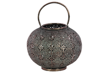 UTC41009 Metal Low Round Lantern with Floral Pierced Metal Design Body and Handle LG Metallic Finish Pewter