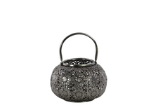UTC41011 Metal Low Round Lantern with Floral Pierced Metal Design Body and Handle SM Metallic Finish Silver