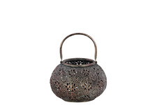 UTC41012 Metal Low Round Lantern with Floral Pierced Metal Design Body and Handle SM Metallic Finish Pewter