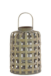 UTC41025 Wood Round Lantern with Lines Latice Design Body with Handle SM Natural Wood Finish Tan