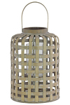 UTC41026 Wood Round Lantern with Top Handle, Latice Design Body and Hurricane Glass Candle Holder Weathered Finish Tan