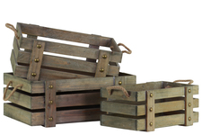 UTC41027 Wood Rectangle Crate with 2 Side Handles Set of Three Natural Finish Brown