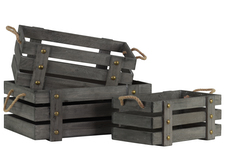 UTC41028 Wood Rectangle Crate with 2 Side Handles Set of Three Weathered Wood Finish Gray