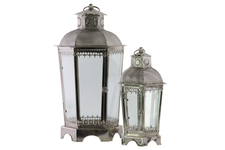 UTC41034 Metal Hexagon Lantern with Pierced Metal Top and Ring Handle Set of Two Antique Finish Silver