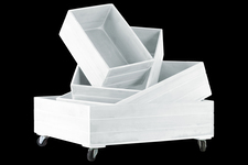 UTC41040 Wood Rectangle Tray with Wheels on the Largest Tray Set of Four Coated Finish White