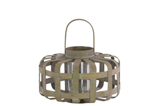 UTC41042 Wood Low Round Lantern with Lattice Design Body and Handle SM Natural Wood Finish Brown