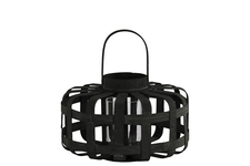 UTC41043 Wood Low Round Lantern with Lattice Design Body and Handle SM Coated Finish Black
