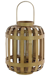 UTC41046 Wood Round Lantern with Lattice Design Body and Handle LG Natural Wood Finish Brown