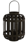 UTC41047 Wood Round Lantern with Lattice Design Body and Handle LG Coated Finish Black
