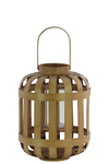 UTC41048 Wood Round Lantern with Lattice Design Body and Handle SM Natural Wood Finish Brown