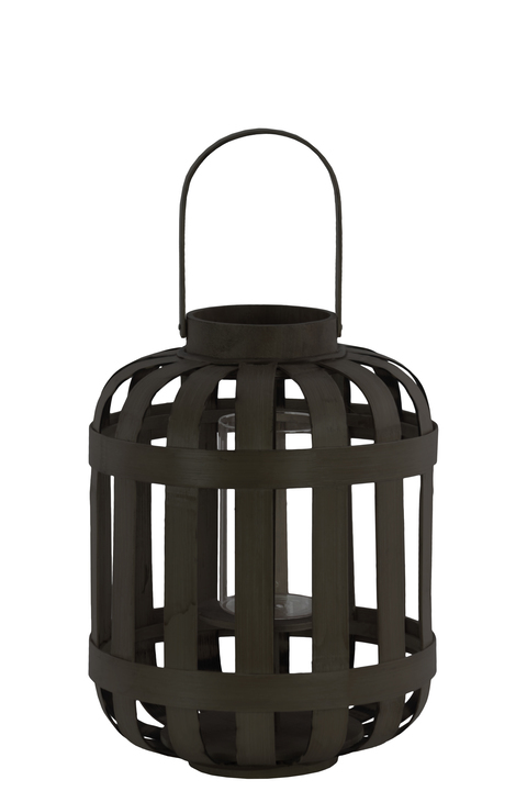 UTC41049 Wood Round Lantern with Lattice Design Body and Handle SM Coated Finish Black