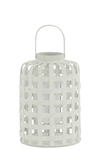 UTC41053 Wood Round Lantern with Lines Latice Design Body with Handle SM Natural Wood Finish White