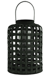 UTC41056 Wood Round Lantern with Lines Latice Design Body with Handle LG Coated Finish Black