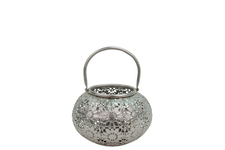 UTC41060 Metal Low Round Lantern with Floral Design Pierced Metal Body and Handle Metallic Finish Silver