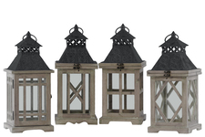 UTC41061-AST Wood Square Lantern with Black Pierced Metal Top, Ring Hanger and Glass Windows Assortment of Four Stained Wood Finish Brown