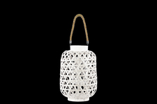 UTC41065 Wood Lantern with Criss Cross Cutouts and Hemp Rope Handle SM Washed Finish White