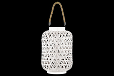 UTC41066 Bamboo Round Lantern with Triangle Cutouts and Hemp Rope Handle LG Washed Finish White
