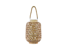 UTC41067 Bamboo Round Lantern with Criss Cross Cutouts and Hemp Rope Handle SM Natural Wood Finish Cream