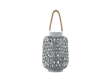 UTC41069 Bamboo Round Lantern with Criss Cross Cutouts and Hemp Rope Handle SM Coated Finish Gray