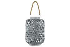 UTC41070 Bamboo Round Lantern with Triangle Cutouts and Hemp Rope Handle LG Coated Finish Gray