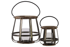 UTC41071 Wood Round Lantern with Handle Set of Two Natural Finish Brown