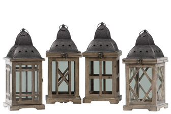 UTC41072-AST Wood Square Lantern with Galvanized Metal Top, Ring Hanger and Glass Windows Assortment of Four Stained Wood Finish Dark Brown