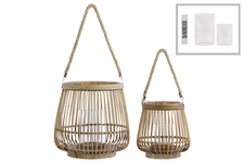 UTC41073 Bamboo Round Lantern with Rope Hangers Set of Two Natural Wood Finish Brown