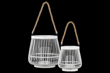 UTC41074 Bamboo Round Lantern with Rope Hangers Set of Two Painted Finish White
