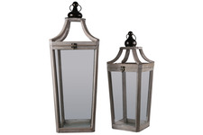 UTC41075 Wood Square Lantern with Ring Handle Set of Two Natural Finish Brown