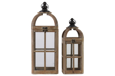 UTC41076 Wood Square Lantern with Ring Handle and Window Pane Design Body Set of Two Natural Finish Brown