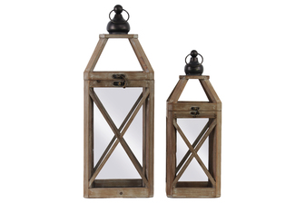 UTC41077 Wood Square Lantern with Ring Handle and Cross Design Body Set of Two Natural Finish Brown