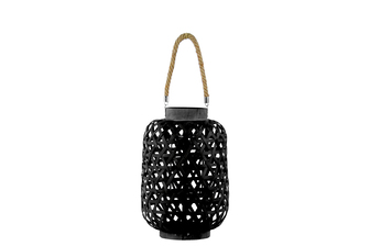 UTC41080 Bamboo Round Lantern with Criss Cross Cutouts and Hemp Rope Handle SM Coated Finish Black