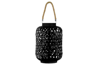 UTC41081 Bamboo Round Lantern with Triangle Cutouts and Hemp Rope Handle LG Coated Finish Black