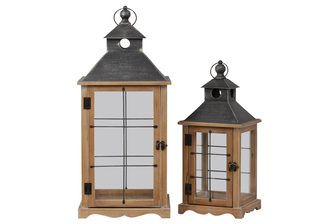 UTC41082 Wood Square Lantern with Metal Pierced Finial Top, Ring Handle, Wire Window Pane Design Set of Two Natural Finish Brown
