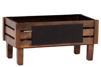 UTC41091 Wood Rectangle Crate with Black Rectangular Label and 4 Legs Stained Wood Finish Brown