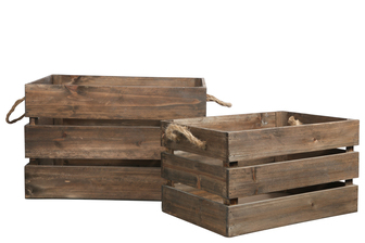 UTC41093 Wood Rectangle Crate with 2 Rope Side Handles Set of Two Weathered Wood Finish Brown