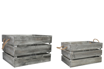 UTC41094 Wood Rectangle Crate with 2 Rope Side Handles Set of Two Weathered Wood Finish Gray