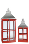 UTC41095 Wood Rectangle Lantern with Silver Metal Top, Ring Hanger, Glass Covered Sides and Window Pane Design Body Set of Two Painted Finish Wine Red