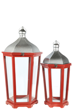 UTC41097 Wood Hexagon Lantern with Silver Metal Top, Ring Hanger and Glass Covered Sides Design Body Set of Two Painted Finish Wine Red