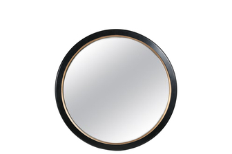 UTC41122 Wood Round Mirror with Inner Golden Edges Design and Back Hangers LG Coated Finish Black