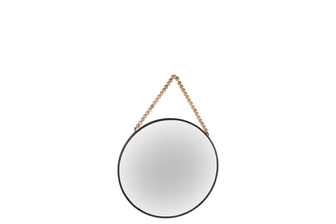 UTC41125 Metal Round Wall Mirror with Top Beads Hanger SM Distressed Finish Gunmetal Black