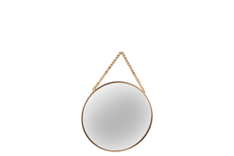 UTC41126 Metal Round Wall Mirror with Top Beads Hanger SM Metallic Finish Gold